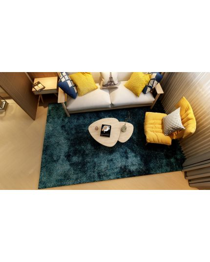 Coral Blue Shaggy Rug (Large)